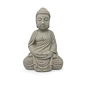 Elly Décor Meditating, 13 inch Tall Ceramic Handcrafted Budha Decor Indoor and Outdoor Garden Sculptures Buddha Statue…