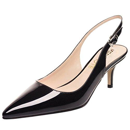 Slingbacks MERUMOTE Pumps Heels Daily Toe Black Walk Sumer Shoes Kitten Women Pointy qO4cUqH1