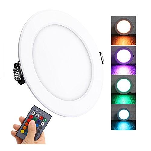 Lemonbest Color Changing LED Ceiling Light Panel Lamp Remote Control 10W Recessed LED Down Lighting Fixture (1 pcs)