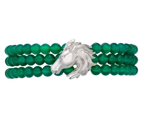 LIQUIDATION Round 6mm Genuine Chalcedony Beads Horse Head Bracelet Sterling Silver 7.5