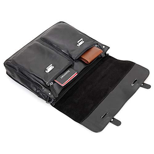 Leather Noir Briefcase 13 12 Sac bandoulière Honneury Vintage Pour 13 Business à pouces 3 Man unisexe 5pqWR