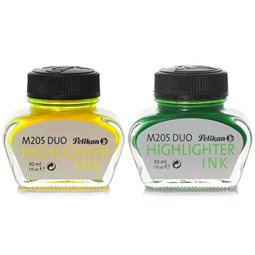 Pelikan, 2 x 30 ml Inkwells, M205 DUO Highlighter Ink Yellow/Green