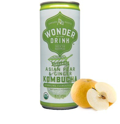 Kombucha Wonder Drink Organic Sparkling Fermented Tea Asian Pear and Ginger -- 8.4 fl oz (Pack of 24)