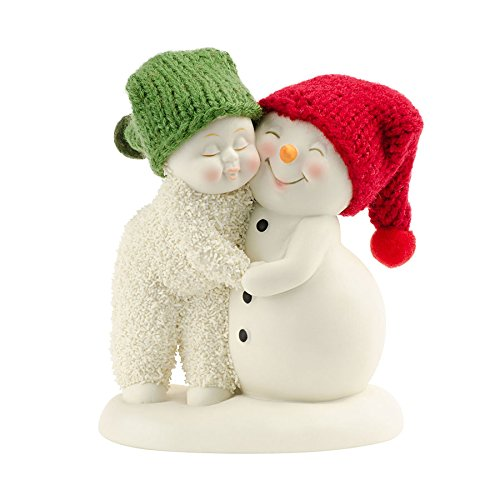 Snowbabies and Snowpinions Department 56 Classic Collection Hug Me Figurine with Hand-Knit Red and Green Stocking Caps