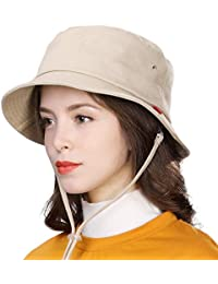 4333eeb4450af Siggi Womens UPF50+ Summer Sunhat Bucket Packable Wide Brim Hats w Chin Cord