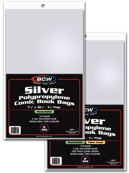 200 BCW RESEALABLE Silver THICK Comic Bags & Backer Boards
