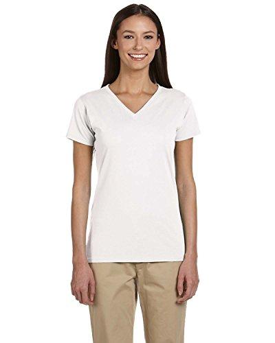 - Econscious Ladies Organic Cotton V-Neck T-Shirt, WHITE, Large