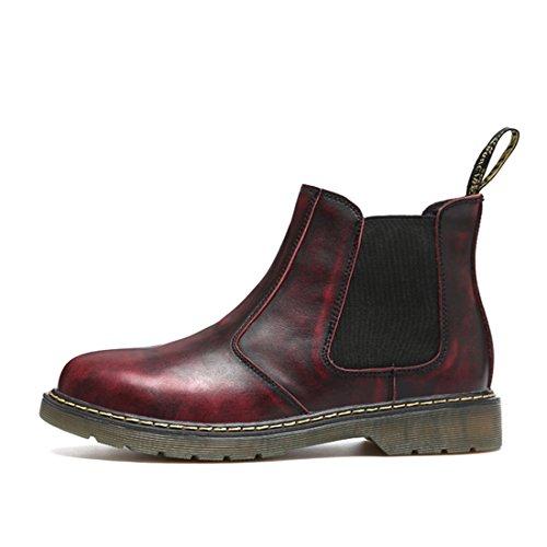 Mens Plus Size Cowskin Enkellaarsjes Winter Korte Chelsea Boots 6117 Rood