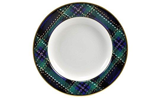 Fitz & Floyd Tartan Plaid Blue Green Large Rimmed Soup Salad Bowl(s) 9.25