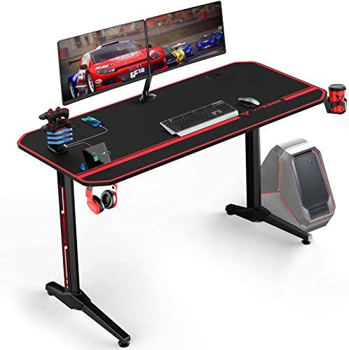 VIT 55 Inch Ergonomic Gaming Desk, T Shaped Office PC Computer Desk with Full Desk Mouse Pad, Gamer Tables Pro with USB Gaming Handle Rack, Stand Cup Holder and Headphone Hook, Black