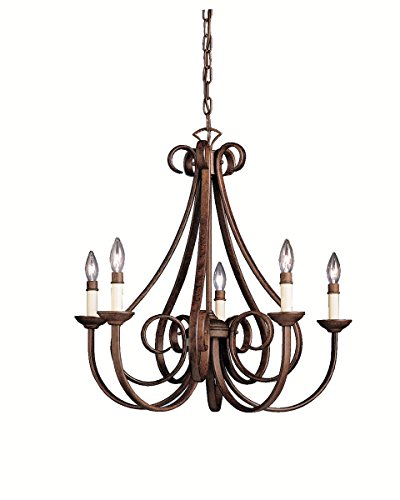 Chandeliers 5 Light with Tannery Bronze Finish Candelabra Bulb 26 inch 300 Watts