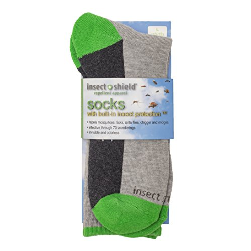 Insect Shield Sport Crew Sock, Grey Heather, Large (10-13)