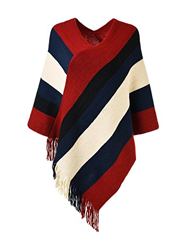 Ferand Women's Elegant Knitted Poncho Top with Stripe Patterns and Fringed Sides, Red & Black -