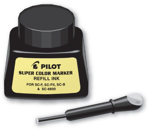 Pilot Super Color Permanent Marker Refill Ink, 1 Ounce Bottle with Dropper, Black Ink (43500)