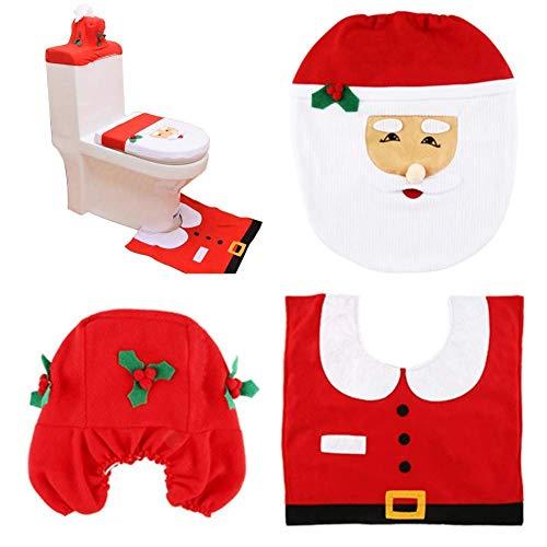 HABI Happy Santa Toilet Seat Tank Cover and Rug Set Bathroom Christmas Decorations Supplies (Sets Sale Bathroom Christmas)