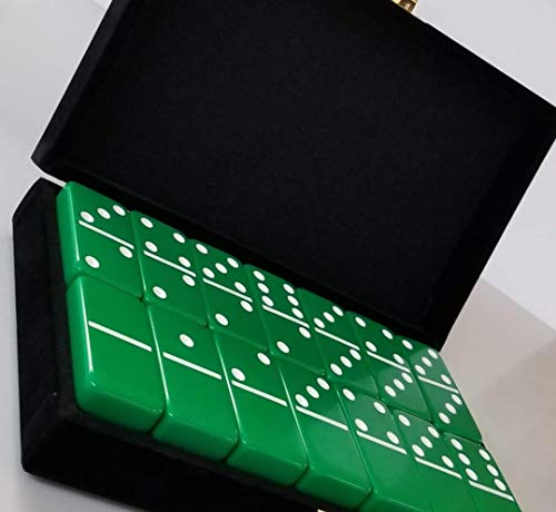 Green Double Six Dominoes Tournament Size in Velour Gift Box ()