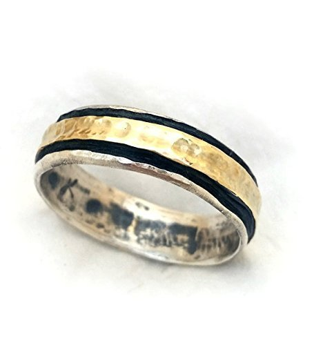 Mens Gold And Silver Wedding Bands | Amazon Com Handmade Men S Wedding Band Oxidized Sterling Silver