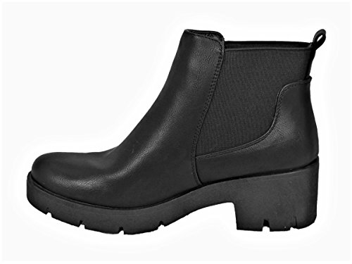 Womens Ladies Chelsea MID HIGH Heel Booties Heeled Block Platform Winter Ankle Boots Size 3-8 Black (88pt01)