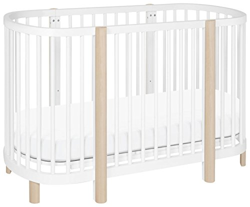 Babyletto Hula Oval Convertible Crib with Mini Bassinet Conversion, White Washed Natural