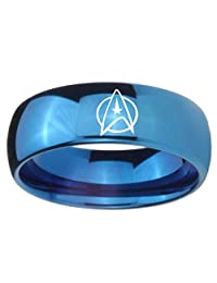 Blue Tungsten with Dome Edge Star Trek Shiny Laser Engraved Ring