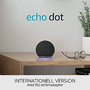 Nya Echo Dot (4:e generationen) Internationell version | Smart högtalare med Alexa | Grafitgrå | Svenskt språk ej tillgängligt