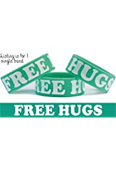 Free Hugs Wristband Green with White Text Fun Bracelet Campaign One Inch Wrist Band