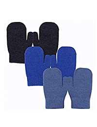 EvridWear Infant Thermal Warm Stretch Knitted Mittens, Toddlers Plain Soft Anti Scratch Winter Gloves for Kids (3 Pairs)