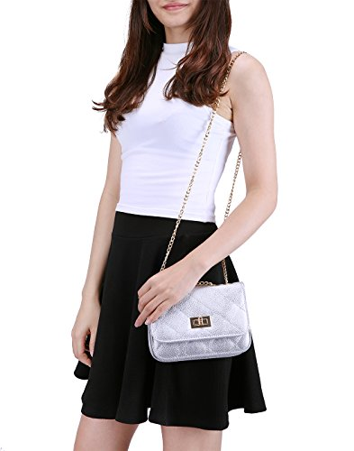 HDE Women's Small Crossbody Handbag Purse Bag with Chain Shoulder Strap (Silver) by HDE (Image #4)
