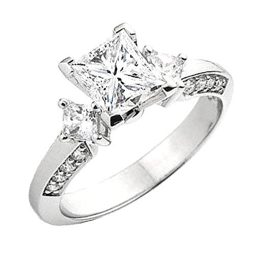 Dazzlingrock Collection 0.25 Carat (ctw) 14K Princess & Round Diamond Ladies Semi Mount Ring 1/4 CT, White Gold, Size 7