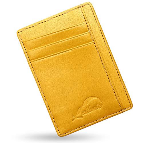 (Lethnic Slim Wallet RFID Front Pocket Minimalist Wallet with Crossed Design (Dark Yellow))
