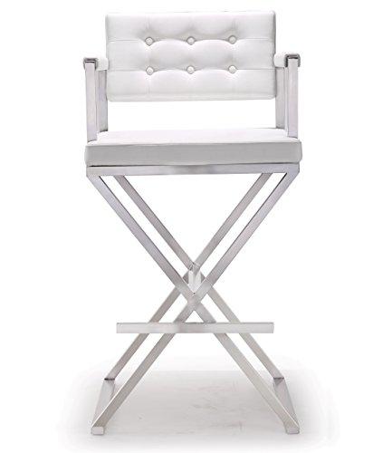 Tov Furniture Director Stainless Steel Barstool, White