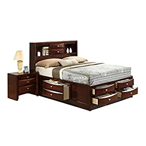 Global furniture linda bed queen new merlot for Bedroom furniture amazon
