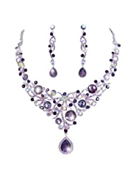 Ever Faith Deluxe Teardrop Austrian Crystal Pendant Necklace Earrings Set