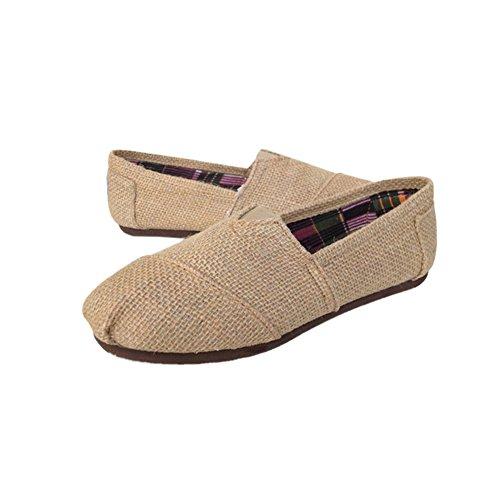 Meijunter Liebhaber Schuhe Slip-on Segeltuchschuhe Leinen Flat Schuhe Comfy Hausschuhe Outdoor Sandalen Khaki