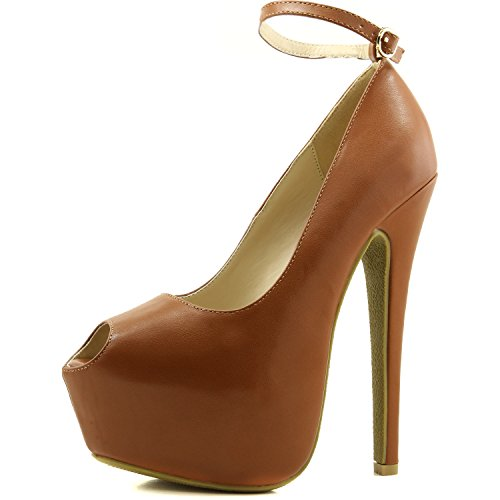 Women's Extreme High Fashion Ankle Strap Peep Toe Hidden Platform Sexy Stiletto High Heel Pump Shoes, Brown, 6.5 B(M) US (Brown Sexy High Heel)