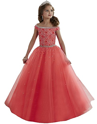 Lilibridal Little Girls Birthday Party Ball Gowns Beaded Kids Pageant Dress LLB054 (Ball Gown For Girls)