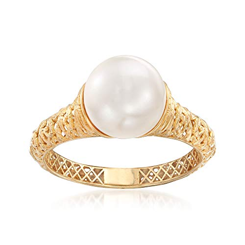 Ross-Simons Cultured Pearl Filigree Ring in 14kt Yellow Gold ()