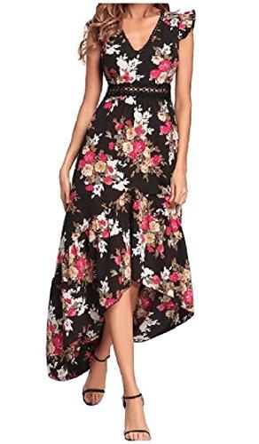 Coolred-femmes Robes Dos Nu Imprimé Floral Décontractée Taille V-cou Irrégulière Empire Noir Élégant