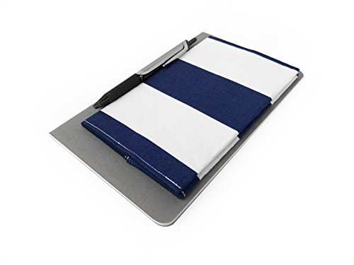 - Checkbook Cover Wallet in Navy Stripes