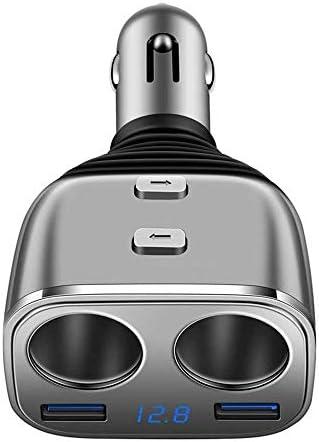 USB充電ポートとLED電圧計電源スイッチ車の充電器とのシガーライターアダプター、カーポウ (Color : Silver)