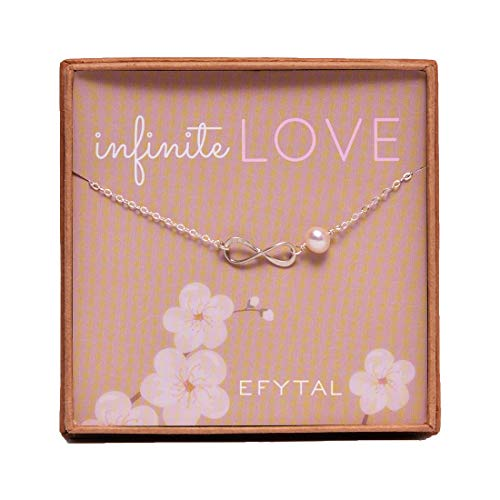 (EFYTAL Sterling Silver Infinity Necklace On Infinite Love Cultured Pearl for Wife Girlfriend)