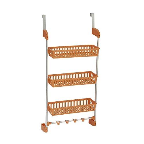 Household Essentials 3-Tier Basket Over-The-Door Organizer with Hooks, Orange -
