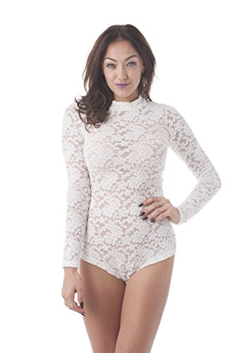 a622554736 Khanomak Long Sleeve All Lace Mock Neck Bodysuit at Amazon Women s Clothing  store