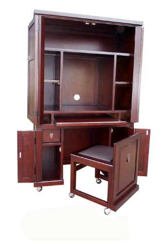 D-ART COLLECTION Computer Armoire with Pull Out Seat