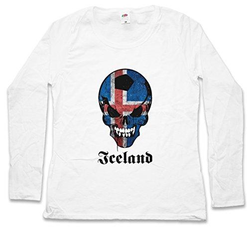 CLASSIC ICELAND FOOTBALL SKULLFLAG DAMEN LANGARM T-SHIRT – Fußball Fan HooliganTotenkopf Schädel Banner Fahne Island DAMEN GIRLIE LANGARM T-SHIRT Größen S - 5XL