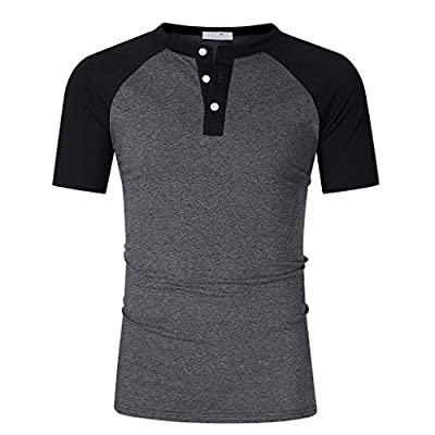 NUWFOR Fashion Men's Summer Casual Patchwork Button Short Sleeved T-shirt Top Blouse