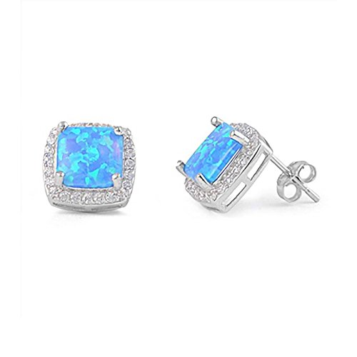(11mm Created Blue Opal with CZ Halo Geometric Square Earrings 925 Sterling Silver)