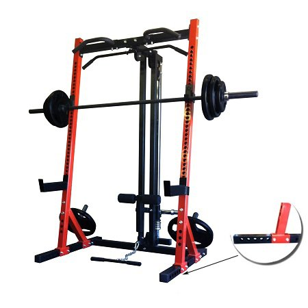half power rack with lat pulldown