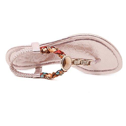 AalarDom Mujer Sin cordones Puntera Dividida Mini Tacón Pu Sandalias de vestir Rosa-3G