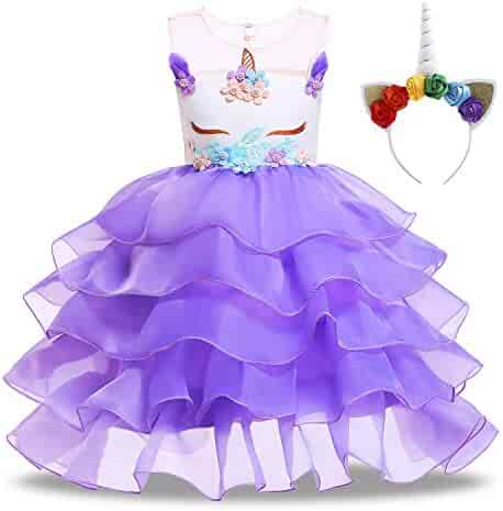 KABETY Baby Girl Unicorn Costume Pageant Flower Princess Party Dress with Headband